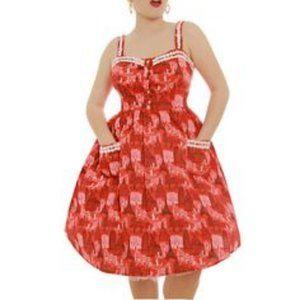 Lindy Bop retro swing dress Corinna Red Travel
